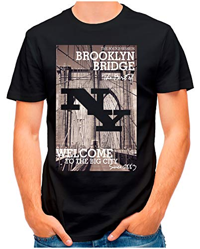 OM3® - Brooklyn-Bridge - T-Shirt   Herren   NY Manhattan Since1883 East River   Schwarz, M