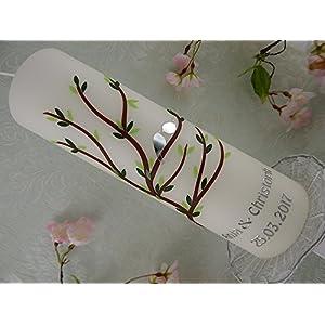 Hochzeitskerze Traukerze Kerze zur Trauung Baum grün mit Vögelchen 250/70 mm inkl. Beschriftung