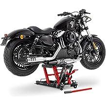 Ponte Sollevatore moto ConStands Mid-Lift L nero-rosso per Harley Davidson Dyna Wide Glide (FXDWG), Electra Glide/ Classic (FLHTC/I) /(FLHT), Electra Glide Sport/ Standard (FLHS) /(FLHT), Electra Glide Ultra Classic/ Limited (FLHTCU/I)/(FLHTK), Fat Boy/ Special (FLSTFB)/ (FLSTF), Heritage Softail Classic/ Special (FLSTC)/(FLSTN), Heritage Springer (FLSTS), Night Train (FXSTB), Night-Rod/ Special (VRSCDX)/(VRSCD), Road King (FLHR/I), Road King Classic/ Custom (FLHRC/I)/(FLHRSI)