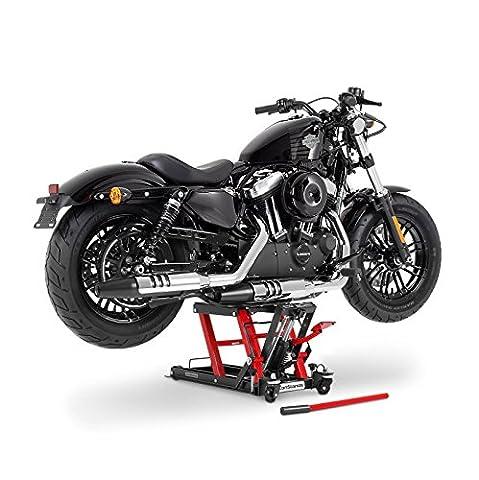 Cric moto ConStands Mid-Lift L noir-rouge pour Harley Davidson Dyna