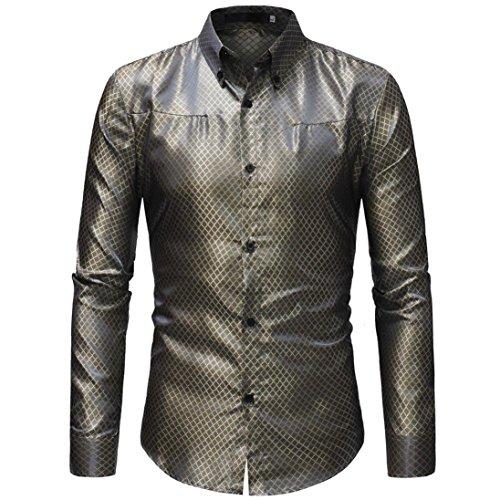 Herren Tops,TWBB Vintage Gitter Einfarbig Männer Oberteile V-Ausschnitt Shirt Lange Ärmel Schlank Hemd Bluse Persönlichkeit Sweatshirts
