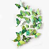 SYGA 12 Pcs 3D PVC Magnet Colorful Green Butterfly Wall Stickers