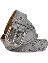 2bb30687a4b73a styleBREAKER Nietengürtel mit Ethno Ornament Muster, Strass und Kugel-Nieten  im Vintage Design, kürzbar, Damen…