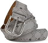 styleBREAKER Nietengürtel mit Ethno Ornament Muster, Strass und Kugel-Nieten im Vintage Design, kürzbar, Damen 03010061, Farbe:Hellgrau;Größe:80cm
