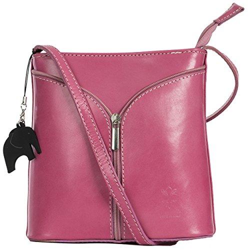 Big Handbag Shop Borsetta piccola a tracolla, vera pelle italiana Pink (Crimson) - Plain