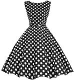 Bbonlinedress Women's Retro 1950s Vintage Swing Rockabilly Party Cocktail Dress Black White BDot S