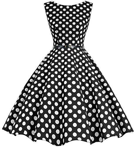 Bbonlinedress modèle 2 Vintage rétro 1950's Audrey Hepburn robe de soirée cocktail année 50 Rockabilly Noir à grand pois blanc