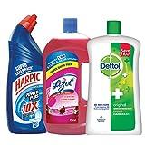 #10: Harpic All in 1 Powerplus - 1 L (Rose) with Lizol Disinfectant Floor Cleaner - 975 ml (Floral) and Dettol Liquid Soap Jar Original - 900 ml