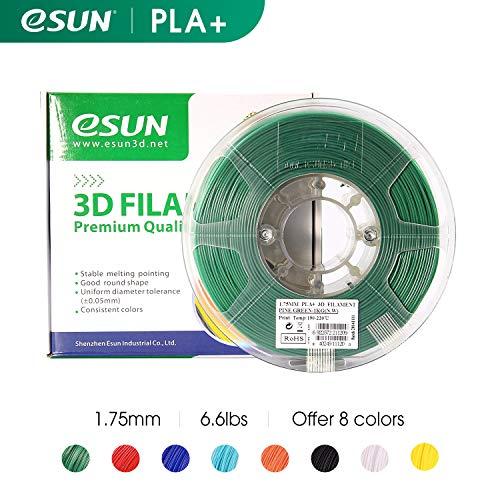 eSUN Filament für 3D-Drucker, 1,75 mm PLA PRO (PLA+) 3 kg Spule (6,6 lbs), Maßgenauigkeit +/- 0,05 mm für die meisten 3D-Drucker, 3D-Druckstifte Filament Nachfüller, pine green, 1