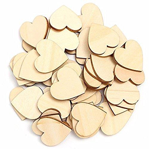 Tinksky Legno dischi 6cm cuore legno betulla naturale fette fai da te per matrimonio natale ornamenti 50pcs