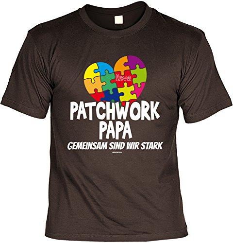 Vatertags T-Shirt - Patchwork Papa - Gemeinsam sind wir stark - Buntes Herz - cooles Shirt mit lustigem Spruch als Geschenk für Väter mit Humor Braun