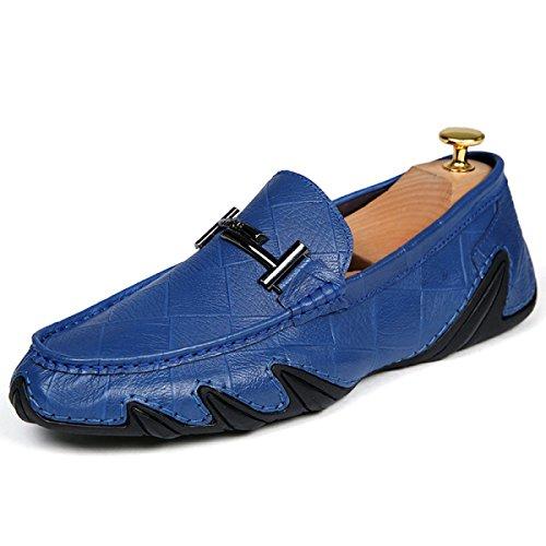 Scarpe Casual Sandali Di Cuoio Pigra Estate Degli Uomini CHT Blue