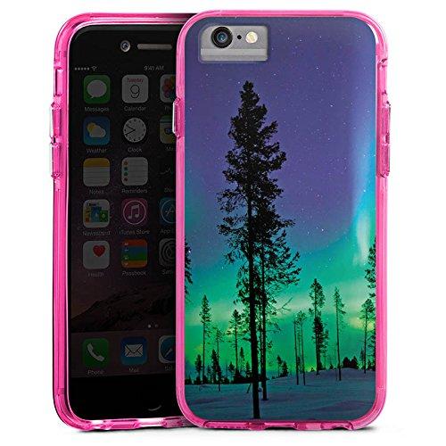 Apple iPhone 6s Plus Bumper Hülle Bumper Case Glitzer Hülle Baeume Himmel Mystisch Bumper Case transparent pink