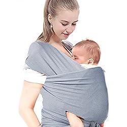 Portabebés,JUSTIME Portador de Bebé- Fular Portabebés Elástico, llevar al Bebé ajustable Baby Carrier ,Unisex, Gris ,mejor regalo para Padres