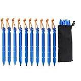 Delmkin 10 Stück NEU Zeltheringe Sandheringe 25cm Poröse Alu Zeltnagel Bodenheringe mit eine Tasche (10 Stück-blau)