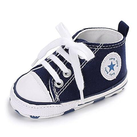 Mixte Chaussures Bébé Chaussures premiers pas Garçons Baskets Filles Sneaker 0-18 Mois (12cm:6-12 Mois, bleu)