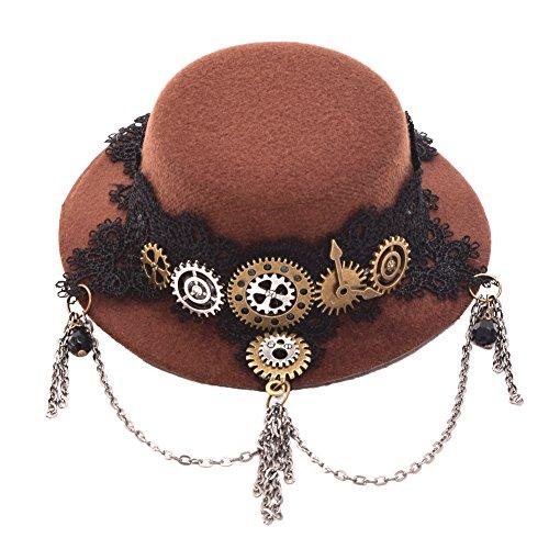 BLESSUME gotisch Frau Steampunk Gang Flügel Uhr Schmetterling Hut Spitze Haar Clip Kopfbedeckung (Uhr Kostüme)