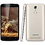 "Homtom HT17 - Smartphone libre 4G LTE Android 6 (Pantalla 5.0"" IPS, 8GB ROM, 1GB RAM, Quad Core, Dual SIM, Resolución 1280 x 720, Lector de huellas dactilares), Dorado"