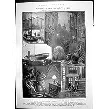 Original old antique victorian print Explosión plymouth1906 de Torpedo de Barco de Flotador de Ámsterdam de