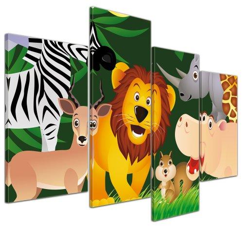 (Kunstdruck - Kinderbild - Lustige Tiere im Dschungel - Cartoon - Bild auf Leinwand - 120x80 cm 4 teilig - Leinwandbilder - Bilder als Leinwanddruck - Wandbild von Bilderdepot24 - Kinder - Grafik - Regenwald - Afrika - Zoo - niedlich)