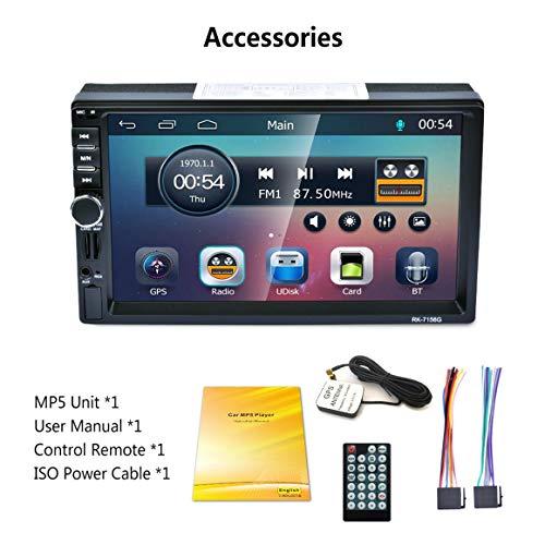 Funnyrunstore RK-7156G 2Din 7inch Voiture MP5 Bluetooth autoradio FM/RDS autoradio HD à écran Tactile Navigation GPS Lecteur multimédia Lecteur Support USB TF (sans Carte Carte)