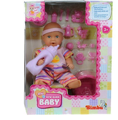 Simba 105033195 - Mini New Born Baby, Vollvinyl-Puppe, 12 cm, inklusive Zubehör, sortiert