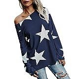 Damen Bluse, KIMODO Frauen Mädchen trägerloses Stern Sweatshirt Lange Hülsen Ernte Jumper Pullover Spitzen (Marine, S)