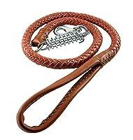 Rantow Laisse de dressage en cuir tressé pour chiens 120 * 1.8cm, anti-dérapant Patrouille de marche sans patte Laisse en cuir véritable avec tampon en métal inoxydable de ressort