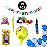 #10: PARTY PROPZ HAPPY BIRTHDAY DECORATION KIT INCLUDED 1 SET HAPPY BIRTHDAY BANNER,1 PACKET OF THERMOCOL BALL 1 PACK MAGIC CANDLE, 12 PCS CRAPE RIBBON, 1 CAKE CUTTING KNIFE, 20 PCS BLUE WHITE BALLOON, 5 PCS PRINTED LATEX BALLOON 1 BALLOON PUMP, 1 PC BALLOON/ BIRTHDAY PARTY SUPPLIES/ BIRTHDAY PARTY DECORATION