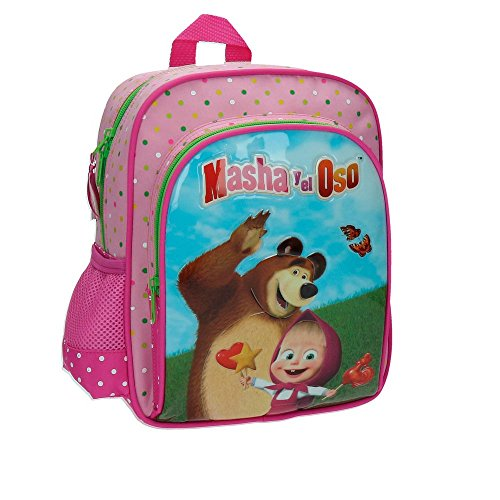 Masha y el Oso In The Wood Mochila Infantil, 6.44 Litros, Color Rosa