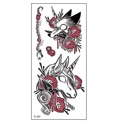adgkitb Einhorn Cartoon Kinder wasserdicht Tattoo Aufkleber Hirsch Blume Farbe Aufkleber 32 9x19cm
