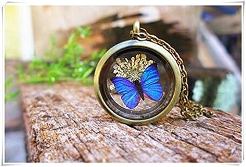 Pendentif papillon Morpho Bleu, véritable Bijoux Collier médaillon COLLIER PAPILLON, fleurs, nature, terrarium en verre Bijoux