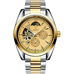 BELLESIE Waterproof Casual Mens Two-tone Gold Dial Stainless Steel Skeleton Automatic Mechanical Wristwatch