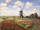 Cuadro sobre lienzo 40 x 30 cm: Tulip Fields with the Rijnsburg Windmill de Claude Monet / Bridgeman Images - cuadro terminado, cuadro sobre bastidor, lámina terminada sobre lienzo auténtico, impre...