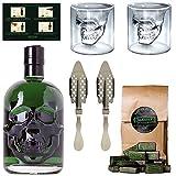 Starkes Absinth-Set mit Hamlet Classic Green Absinth - 2x Totenkopf...