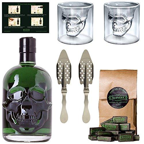 Starkes Absinth-Set mit Hamlet Classic Green Absinth - 2x Totenkopf Absinth-Gläser - 2x Absinth-Löffel - 1x Zuckerwürfel - OHNE künstlichen Farbstoff - Max Wermut / Thujongehalt