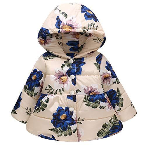 Kinder Mäntel Sunnydrain Kinderjacken Floral A-Line Muster Hoodie Lose Reißverschluss Winter Warm Herbst Kapuzen Outerwear Baumwolle Langarm