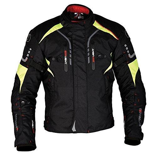 Oxford Misano-Giacca da moto in tessuto impermeabile fluorescente, colore: nero
