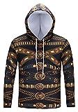Pizoff Unisex Hip Hop Luxus Golden Sweatshirt Kapuzenpullover mit Bunt 3D Palace Still Digital Print