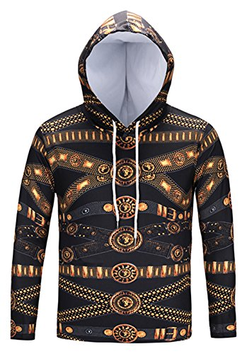 Pizoff Unisex Hip Hop luxus golden Sweatshirt Kapuzenpullover mit Bunt 3D palace still Digital Print (T-shirt Teufel Womens Dunklen)