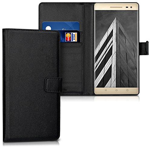 kwmobile Hülle für Lenovo Phab2 Pro - Wallet Case Handy Schutzhülle Kunstleder - Handycover Klapphülle mit Kartenfach und Ständer Schwarz
