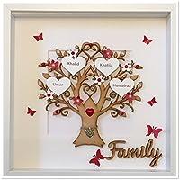 Rot Personalisierte Stammbaum 3D Box Frame Andenken Hochzeit Weihnachten Weihnachtsgeschenk (maximal 14 Namen)