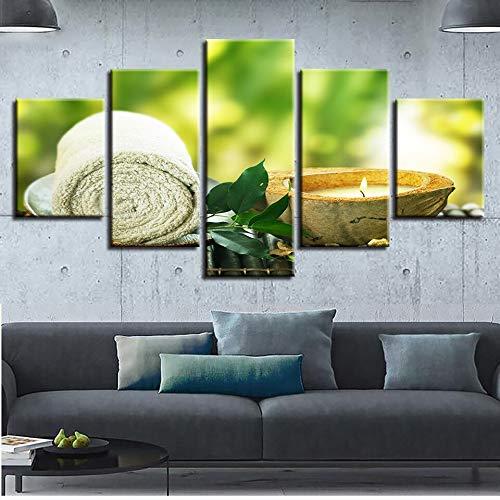 Essbare Massage-kerze (zysymx Leinwandbilder Wohnkultur HD Drucke 5 Stücke Handtuch Blatt Kerze Gemälde Spa Massage Poster Modulare Wohnzimmer Wand)