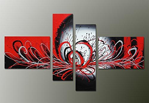 fokenzary pintado a mano de pintura al óleo de flores de Morden estilo abstracto explosivo. Diseño sobre lienzo estirada y enmarcado listo para colgar, lona, negro/ rojo, 16x20inx2pcs,10x32inx2pcs
