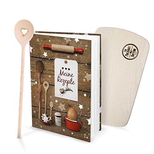 Geschenk-SET Rezeptbuch Selberschreiben MEINE REZEPTE + Kochlöffel HERZ + kleines Küchenbrett Weihnachtsplätzchen rot weiß Weihnachtsgebäck Plätzchen Rezepte Weihnachten Backen Backbuch Geschenk Weihnachten