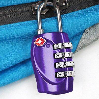 TRIXES 4-stelliges TSA-Vorhängeschloss Zahlenschloss für Gepäck, Koffer, Tasche - Violett