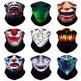 Sojourner 9PCS Nahtloses Bandana Gesichtsschutz Stirnband Schal Kopftuch Halswärmer & Vieles Mehr - 12-in-1 Multifunktionstuch für Musikfestivals, Raves, Motorrad, Outdoor (Monster Serie 1)