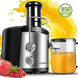 Centrifugeuse extracteur de jus de fruits et légumes avec Bouche de 74MM. 850W, 2 vitesses et jarre de 1,25 litres. En acier inoxydable de type 304, sans BPA - Aigostar MyFrappe Black 30IMX