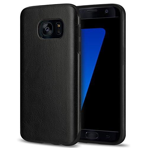 TENDLIN Coque Samsung Galaxy S7 Cuir et Flexible TPU Silicone Hybride Souple Housse Etui pour Samsung Galaxy S7 (Cuir Noir)