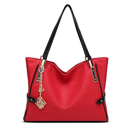 wewod Mode Borsa a mano spalla borsa in ecopelle da donna con decorazione grazioso Rote